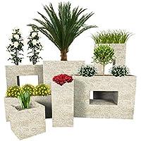 Pflanzwerk® Jardinera Fibra de Vidrio Cube Antiguo Arena 45x55x55cm *Maceta a Prueba de heladas* *Protección UV* *Calidad Europeo*