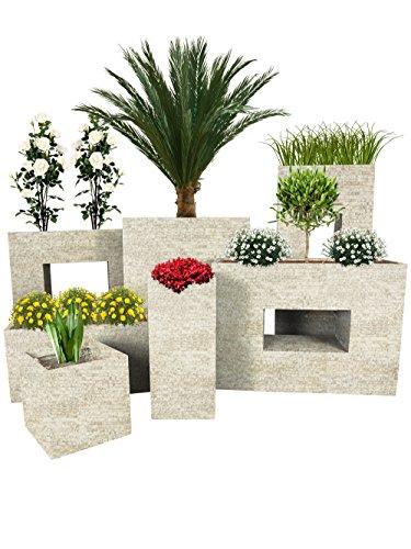 Pflanzwerk® Pflanzkübel Cube Antik Sand 28x28x28cm *Frostbeständiger Blumenkübel* *UV-Schutz* *Qualitätsware*