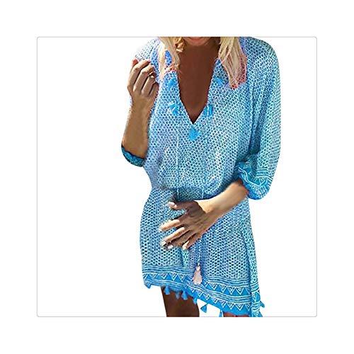 Women Mini Dress Criss Cross Bandage Lace Semi-Sheer Plunge V-Neck Long Sleeve Dress Bohemian Casual Beach Dress Z0408 Blue L -