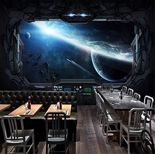 Zybnb Benutzerdefinierte 3D Fototapete Cosmic Space Cabin Raumschiff Wandmalerei 3DHotel Internet Spielzimmer Wandbild Wallpaper-350X250Cm