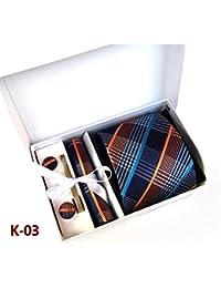 Pulchram Cravatta Uomo, Set di Tie Gemelli Fazzoletto Fermacravatta, Confezione Regalo per Uomo Padre
