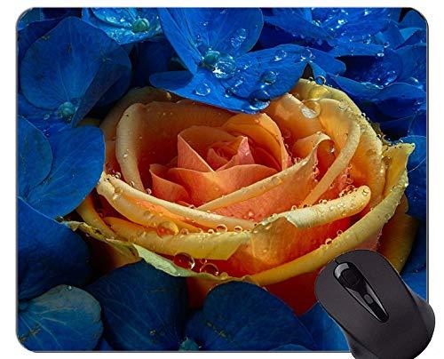 Rechteck-Mausunterlage, Wassertropfen-Rosenhortensieblume - genähte Ränder