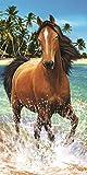 Badetuch, Strandtuch, Handtuch - Pferd am Strand - Pferd - Pferde - XXL-Größe - 100% Baumwolle - Aktionspreis - NEU