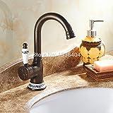 Rétro Deluxe Faucetinging Wholesale Lavabo Robinet Laiton Style européen 1trou avec Porcelaine Cuivre Montage Bord mitigeurs Grue Rb1035