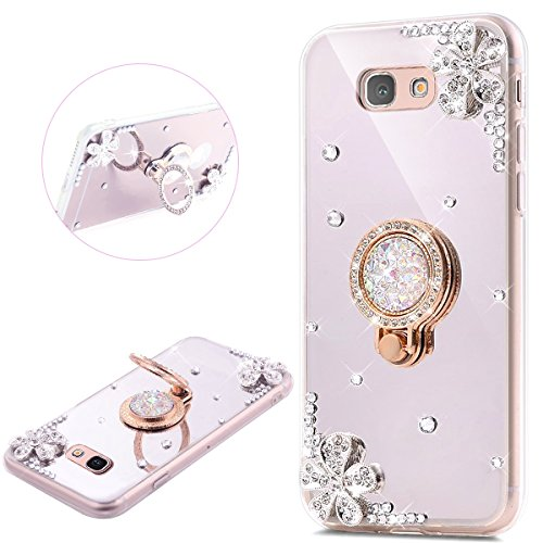 JAWSEU Samsung Galaxy A3 2016 Coque Transparent Glitter Silicone Clair Pailletee Brilliante Fleur Diamant Ring Stand Holder Ultra Slim Soft TPU Cristal Sparkle Scintillant Flexible Souple Gel Etui