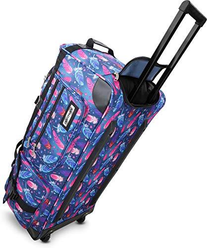 normani Reisetasche Trolley Big Size Reisetrolley XL Tasche NEU Verschiedene Größen Farbe Fancy Feathers / 100 Liter