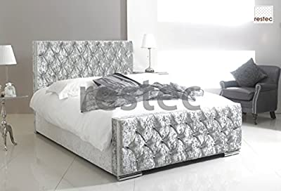 Florida Upholstered silver crush velvet bed frame in different size available (4FT6 BED FRAME)