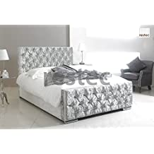 Florida Upholstered silver crush velvet bed frame in different size available (5FT BED FRAME) by ComfyCraft