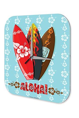 LEotiE SINCE 2004 Wanduhr mit geräuschlosem Uhrwerk Dekouhr Küchenuhr Baduhr Fun Wand Deko Uhr Aloha Hawaii Surf Acryl Uhr Vintage