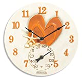 """SPRINGFIELD 92325 12"""" Poly Resin Clock with Thermometer (Flip-Flops)"""