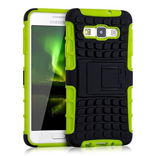 kwmobile Hybrid Outdoor Hülle für Samsung Galaxy A3 (2015) mit Ständer - Dual TPU Silikon Hard Case Handy Hard Cover in Neon Grün Schwarz