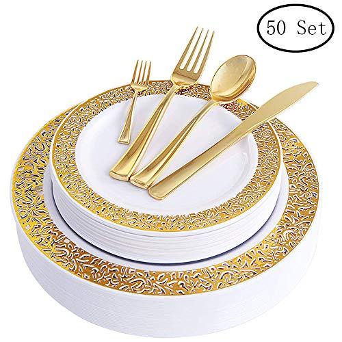 Design Gold Trim (Nuptio Einweg-Kunststoffplatten Set - 300 Pack - Lace Gold Trim Real China Design - Premium Heavy Duty Für Party Hochzeit)