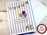 SET: 10 x Karte Einschulung für Einladung, Menükarte, Danksagung, Tischdeko