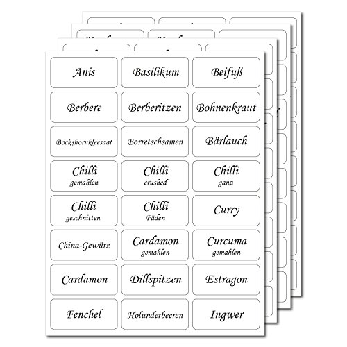 144 Gewürzetiketten 33x15mm - transparent - UV beständig - Hohe Klebekraft (100 bedruckt / 44 blanko) -