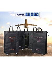 ELINKUME Bolsas de viaje plegables fortalecer maleta con libre-caminar aleación ruedas Trolley fin de semana compras bolsa de lona equipaje ligero