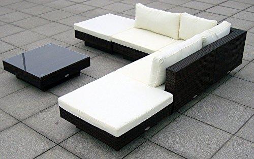 Baidani Gartenmöbel-Sets 10c00002.00002 Designer Rattan Lounge Sunqueen, 1 Sofa, 1 Beistelltisch mit Glasplatte, braun - 3