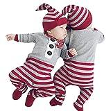 Kinderkleidung, Dasongff Baby Mädchen Jungen Strampler Overall + Hut 2 Stücke Set Outfit Kleidung Weihnachten Neugeborenes Jumpsuit (70/ 0-3 Manate, Grau)