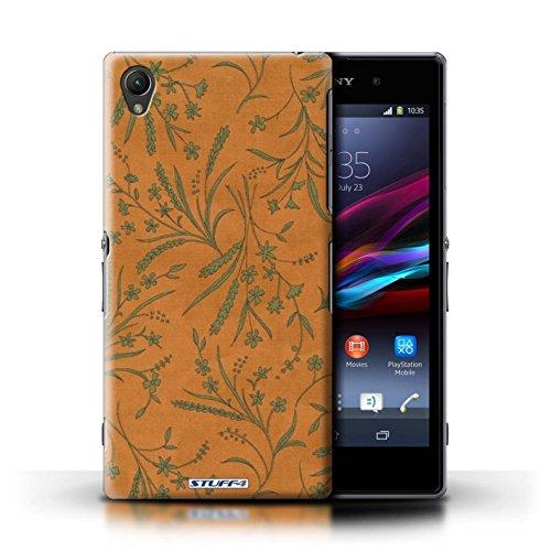 Kobalt® Imprimé Etui / Coque pour Sony Xperia Z1 / Orange/Vert conception / Série Motif floral blé Orange/Vert