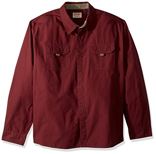 Wrangler Herren Big & Tall Long Sleeve Canvas Shirt Button Down Hemd, Tawny Port, 3X-Groß -
