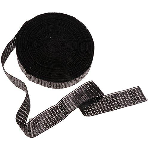 MagiDeal 20 Yards Glänzendes Paillettenband Spitzenband Spitzenborte Spitzenbordüre Applikation für Hochzeit Kostüm Brautschmuck Kleidung Verzierung - Schwarz -