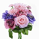 Fiori Bouquet Rosette Artificiali in Plastica di Seta Matrimonio Nuziale per la Decorazione del Partito di Giardino Domestico 8 Rami 10 Teste