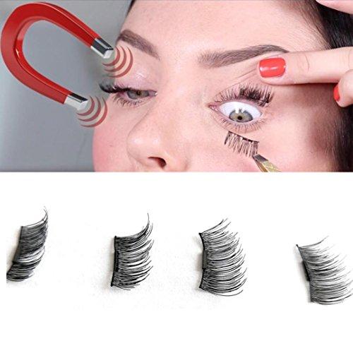 Lanspo Pop Wimpern 4pcs (1 Paar) Magnetische Augenwimpern 3D wiederverwendbare Falsche Magnet Wimpern Dicke Lange Verlängerung Wimpern