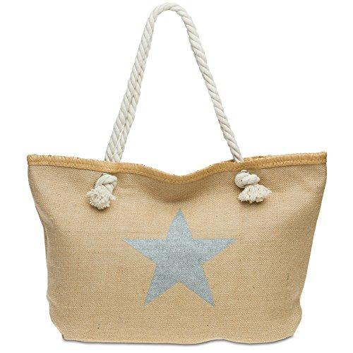 CASPAR TS1026 Sac de plage XL en toile de jute pour femme - Sac shopping stylé en fibres naturelles avec imprimé étoile, Couleur:argenté;Taille:One Size