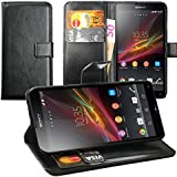 Original Lanboo® Wallet / Buch Tasche mit Magnetverschluss für Sony Xperia ZL - L35H - Schwarz