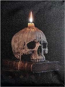 Led wandbild totenkopf auf buch mit kerze beleuchtet - Totenkopf wandbild ...