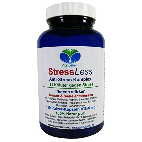 StressLess, Anti-Stress-Komplex, 11 Kräuter gegen Stress, 120 Pulver-Kapseln a 350mg, #25811