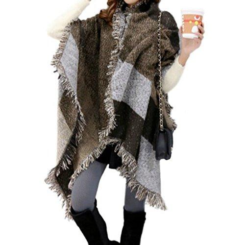 VLUNT Echarpe Longue Douce et Chaude Surdimensionnée Automne/Hiver pour Femme Foulards Tartan Châle Long Etole Filage de la laine Cadeau Noël Noir et Blanc K