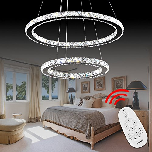 VINGO® 32W 2 Ringe Dimmbar LED Höhenverstellbar Hängeleuchte Pendelleuchte Deckenlampe Wohnzimmer Deckenleuchte Wohnraum Schlafzimmer Kristall Hängelampe Modern 500*300MM 3200-3500LM