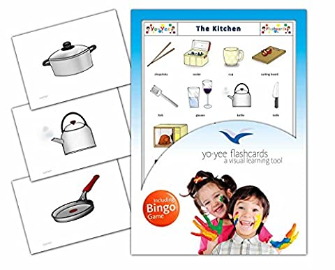 Kitchen Flashcards in English - Flash Cards with Matching Bingo Game in One Set - Vocabulary Picture Cards for Toddlers, Kids, Children and Adults - Size 4.13 × 5.83 in - DIN A6