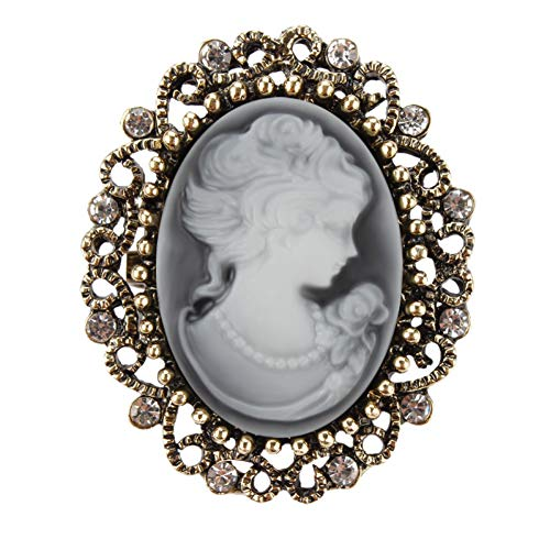 HUNANANA Vintage Queen Cameo Crystal Brosche Pins Für Frauen In Antique Gold Farbe (Cameo-pins Und Broschen)