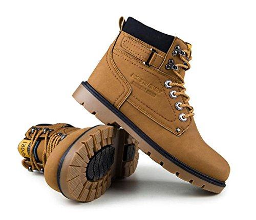Brinny Herren Stiefeletten Worker Boots Outdoorschuhe Schnürstiefel Braun