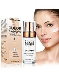 Flüssige Grundierung, Flüssiges Make-Up, Concealer-Abdeckung, Langlebige flüssige Grundierung, Make-up-Basis, Makellose Farbwechselgrundierung 30ML