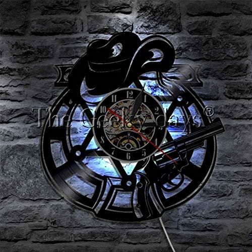 WTACK Wanduhr Glow in Dark Light Wandleuchte handgefertigte Geschenkidee kreative Dekoration Vinyl Wanduhr 12 Zoll