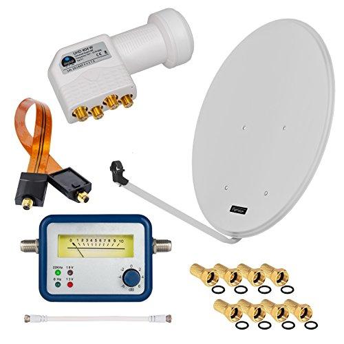 HD Digital SAT Anlage 80cm Spiegel Schüssel Hellgrau ALU Aluminium + Quad LNB Weiß 4 Teilnehmer zum Empfang von DVB-S/S2 Full HD 3D Ultra HD (UHD) Signale + Sat-Finder + Fensterdurchführung + F-Stecker Gratis dazu im SET