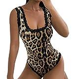 Lucky Mall Frauen Reizvolle Spitze ärmellose Leopard Oberteile, Overall mit Rundhalsausschnitt und Overall