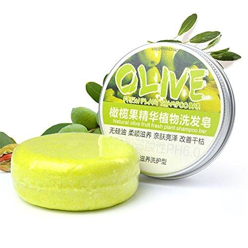 PanDaDa Conditioning Shampoo Bar, Shampooing Solide Sec Bio Savon Cheveux Hydratants 100% Naturel Fait à la Main-Olive
