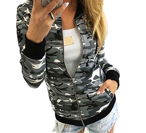 IWFREE Damen Jacke Herbst Bomber Jacke Piloten Baseball Mantel Outwear Tops Coat Bomberjacke Gepolstert Kurz Jacke mit Stehkragen Reißverschluss Outwear Camouflage (Cord Denim Fell)