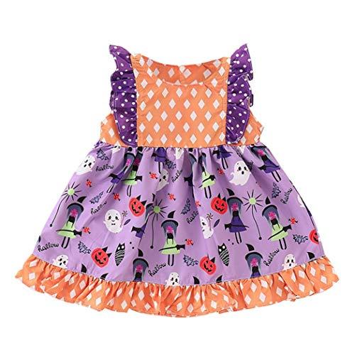 (U.Expectating Babybekleidung Baby-Mädchen Prinzessin Kleid Festzug Taufkleid Hochzeit Partykleid Mädchen Ärmellos Gekräuselte Kürbis Cartoon Polka Dot Print Kleid Rock (100, Lila))