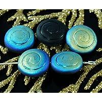 Matte Iris Nero Flat Round Coin Spirale di Vetro ceco Nautilus Ammonite Fossile di Conchiglia di Perle 13mm 10pcs