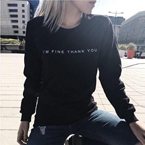 Ouneed® Femme Casual Sweat- Shirt sans capuche Taille 38 - 44 Noir