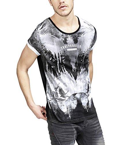 trueprodigy Casual Herren Marken T-Shirt mit Aufdruck, Oberteil Cool und Stylisch mit Rundhals (Kurzarm & Slim Fit), Shirt für Männer Bedruckt, Größe:M, Farben:Schwarz