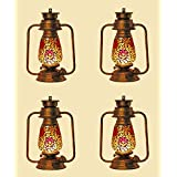 Afast Antique Wall Mount Lantern Lamp With Glass Hand Decorated With Colorful Articles For Special Lighting Effects(Set Of 4)_VC24
