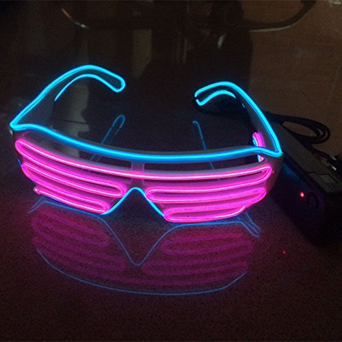 (3Paar Fashion DJ LED-Brille Konzert Partybrille Sonnenbrille+EL LED Draht Brille)