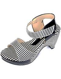 Neha Women's Black Synthetic Sandals- 8 UK