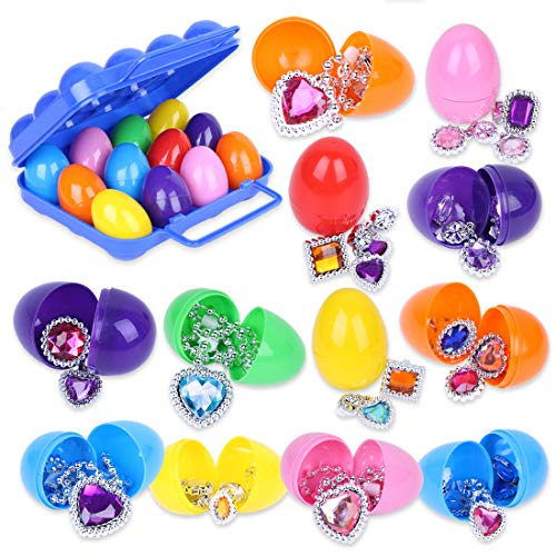 Youth union 12 uova di pasqua con giocattoli fantasia assortiti, set di riempimento in plastica colorata per le uova di pasqua