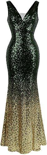 Angel-fashions Damen Pailletten V-Ausschnitt Ballon Gatsby Flapper Abendkleid (S, Grün Gold)
